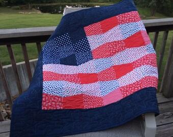 """Patriotic Flag Quilt - 42"""" X 33"""""""