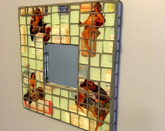 Mixed media mosaic mirror, stained glass mosaic, small mosaic mirror,