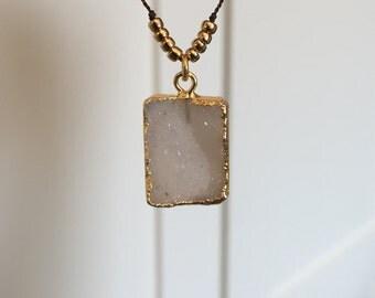 Gold Edged Druzy Pendant Necklace