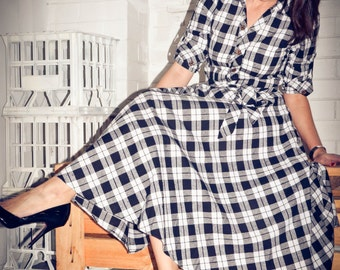 IRIS Check Tea Length Shirt Dress