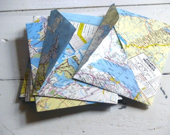 """Hand made map envelopes, set of 10 greeting card sized approx 5.2"""" x 7.2"""", hand cut from vintage and new American and Canadian road atlas"""