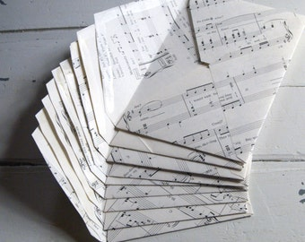 "Hand made vintage sheet music envelopes, set of 10 greeting card sized approx 5.2"" x 7.2"", hand cut, wedding invitation envelopes"