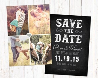 Save The Date template card. Digital engagement announcement design. Photoshop PSD files 5x7.