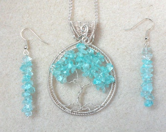 Aqua Quartz and Silver Wire Wrapped Tree of Life Pendant and Earring Set