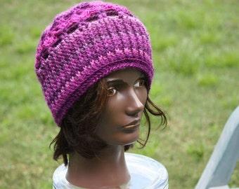 Crochet- Purple Hat.  Mate To Purple Infinity Scarf.