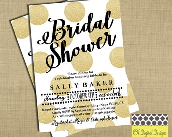 Gold and Black Bridal Shower Invitation