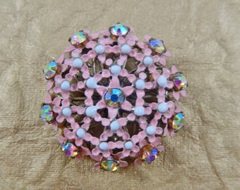 Vintage Pink and White Enamel AB Flower Brooch Pin