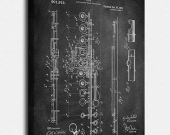 Flute Canvas Print, Flute Patent,  Vintage Art,  Blueprint,  Poster, PatentPrints, Wall Art, Decor [MU21C]