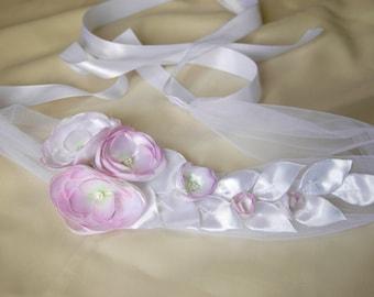 Wedding flower sash hand painted, blush bridal sash, bridal gown sash, flower belt, flower sash belt, dress sash, bridal gown belt