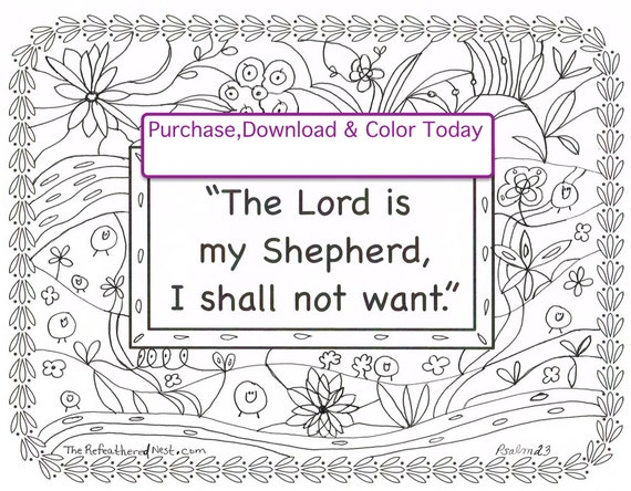The lord is my shepherd scripture coloring page for The lord is my shepherd coloring page