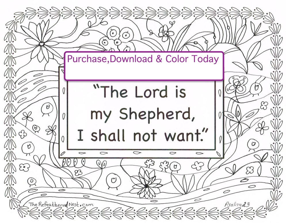The lord is my shepherd i shall not want coloring page for The lord is my shepherd coloring page