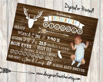 Woodland Tribal Chalkboard Birth Announcement