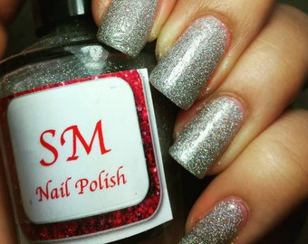 Bling Bling/ Holographic/Holo Silver Glitter Indie nail polish