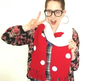 Toadstool scarf. Hand knitted red and white scarf with polka dot detail