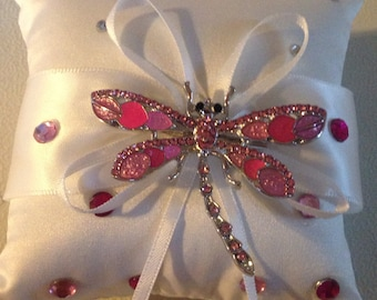 Pretty in pink dragon fly broached ring pillow