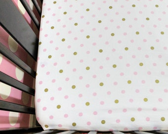 Pink and Gold Metallic Dot Fitted Crib Sheets for Girls