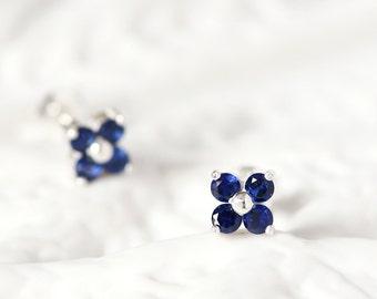 Sapphire Flower Earrings 925 Sterling Silver September Birthstone Tiny Stud Earrings