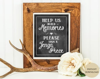 Jenga guest book sign (INSTANT DOWNLOAD)  - Jenga guestbook - Wedding Jenga - Wedding guest book alternative -  Chalkboard wedding signs