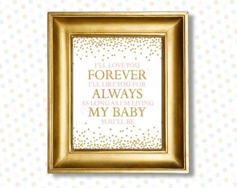 Ill love you forever Ill like you for always printable 8x10 (INSTANT DOWNLOAD) - I love you forever - Printable nursery art PG1