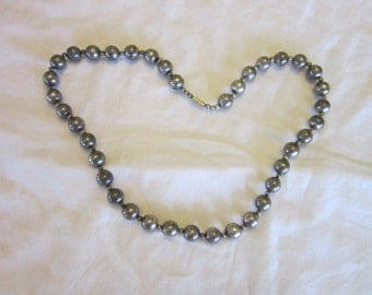 Vintage Silver on Copper Round Ball Beaded Necklace