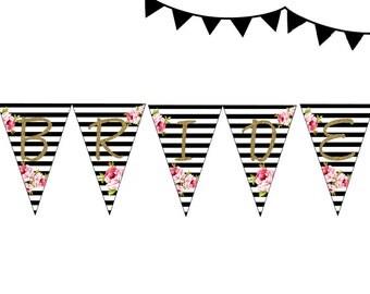 Instant download, Black White Floral Bridal Shower Banner, Black Stripes Bridal Shower Pennant, Wedding Shower Bunting PNN01, BS10