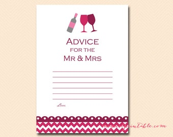 Advice for the mr and mrs, advice for bride and groom, Wine Bridal Shower Game Printables, Bachelorette, Winery, Wedding Shower Games BS110