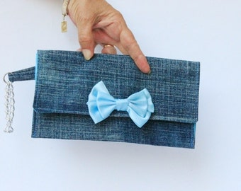 Very small wristlet, Denim wristlet clutch purse, Small clutch bag, Denim clutch
