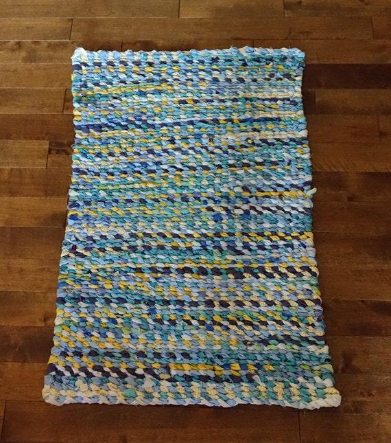 Turquoise Rag Rug Rag Rug Weaving Handmade Shabby By
