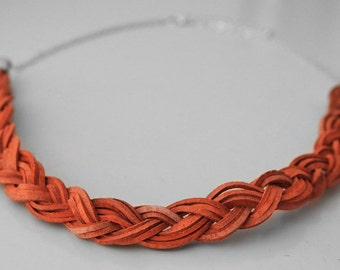 Orange Leather Braid Chain Necklace, Genuine Real Leather Necklace