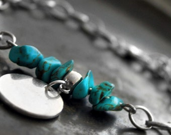Turquoise Silver Bracelet With Coin, Blue Gemstone Bracelet, Turquoise Gift