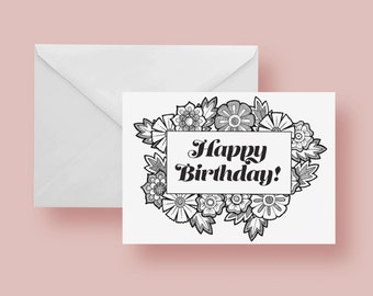 NEW Happy Birthday Color-It-Yourself Greeting Card 5.5 x 8.5 inches Blank Inside with Envelope