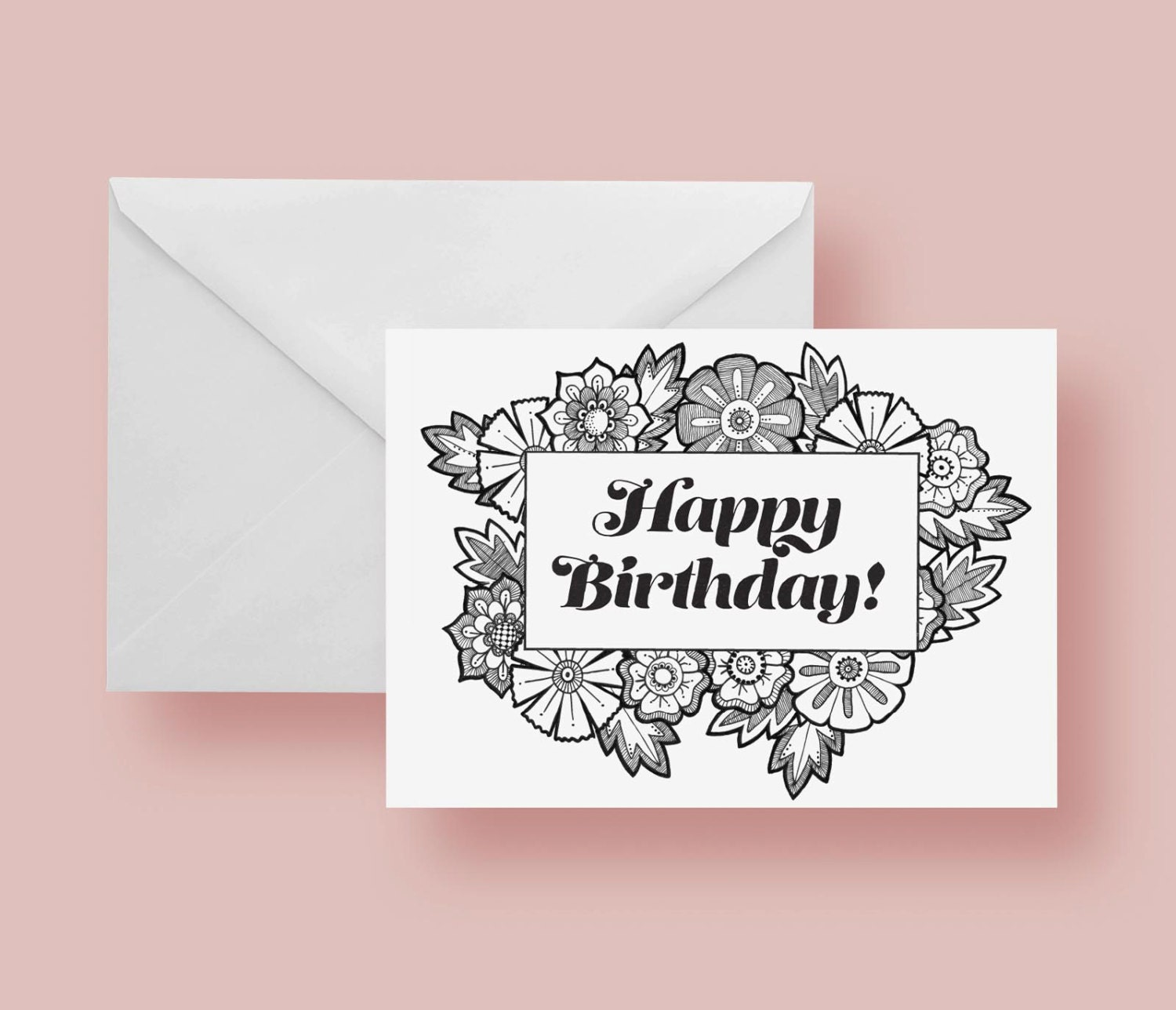 Printable Happy Birthday Coloring Greeting Card 5x7 Inches