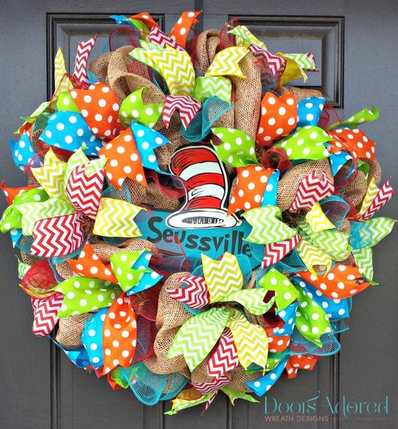 Dr Seuss Wreath Seussville Wreath Teacher Wreath By
