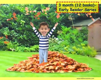 12x Personalized Children's Books with Photo- 3 month (12 titles) set of personalized kids eBooks for Early Readers with photo and name.