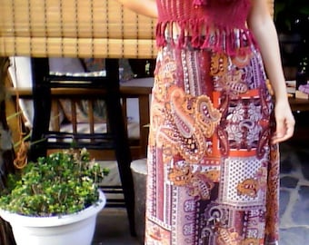joint top crochet and hippie long skirt