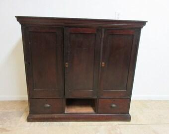 Antique Victorian Primitive Masonic freemason Cabinet Desk Hutch Top Shelf