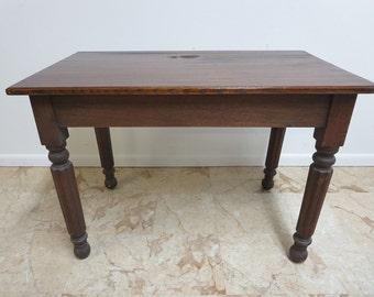 Antique Victorian Primitive Turned Leg Desk Dining Work Farm Table D