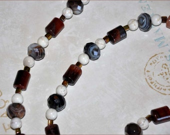 Chestnut Tube Beads, Glass Bead Necklace, 34 Inch Necklace, Botswana Agate Beads, Russet Bead Necklace, Brown Bead Necklace