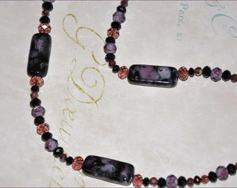 Black and Pink Beads, Lampwork Necklace, Black Necklace, Purple Bead Necklace, Pink Beaded Necklace, Glass Bead Necklace