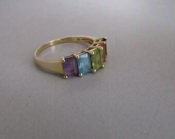 14k Multi Colored gemstone ring band Size 10