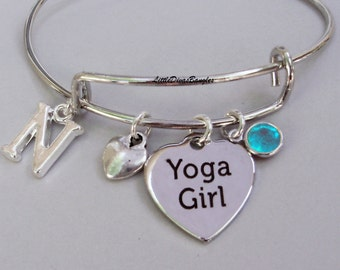 YOGA Girl Charm Bangle / Bracelet W/ Birthstone Drop /  Under Twenty  / Gift For Her / Usa  Y1