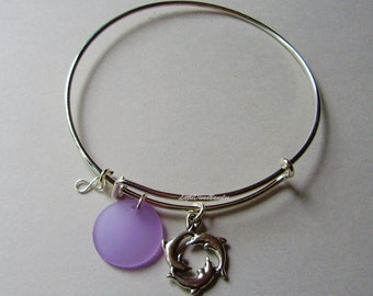Dancing Dolphins / Periwinkle SEA GLASS W/  A Silver Infinity  Drop /  Adjustable Bangle / Beach Glass  Charm / Gift For Her  USA - GL1