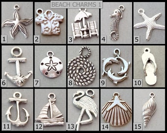 Beach CHARMS / Add on A Charm / Silver Dangles to your Bangles / Personalize your Bracelet / DOLPHIN / Starfish/ Shell / Sand Dollar CH1