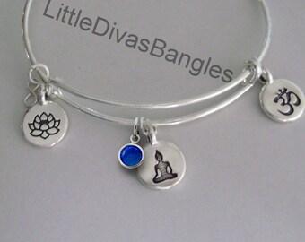 Lotus Flower / Yoga / OM  Charm W/ Birhstone Drop / Gift For Her / Yoga Bangle / Om Bangle Silver Infinity Accent  Under Twenty / Usa Y1