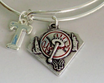 New York Yankees CHARM Bangle -  Baseball  Charm W/ Initial Bangle -  Charm Bracelet - Gift For Her Mlb Sports Bangle - Usa B1