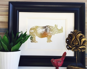 Rhino art, Rhinoceros Art, Rhinoceros Print, Real Gold Foil Print, Rhinoceros wall art, nursery wall art, office wall art