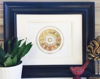 Gold Medallion, wall medallion Design, asian wall art, medallion wall decor, real gold foil, gold foil print,