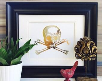 Skull and Crossbones, Skull Decor, Pirate decor, Halloween Decor, Real Foil, Gold Foil Print