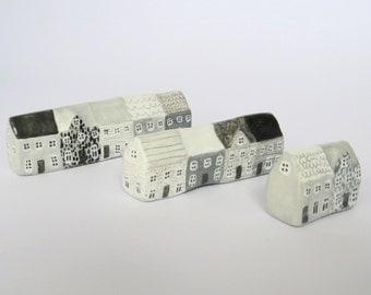 Miniature illustrated row houses