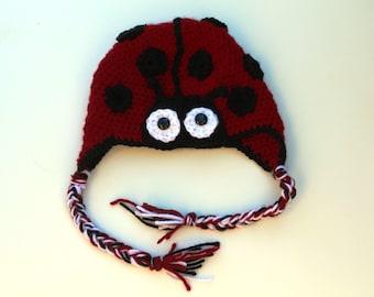 Teen/Adult Size Crocheted Ladybug Hat Toque